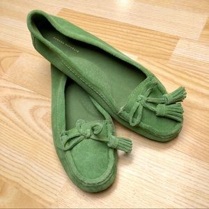 Banana Republic Green Suede Loafers With Tassels